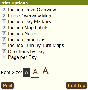 Road Trip Planner Print Options