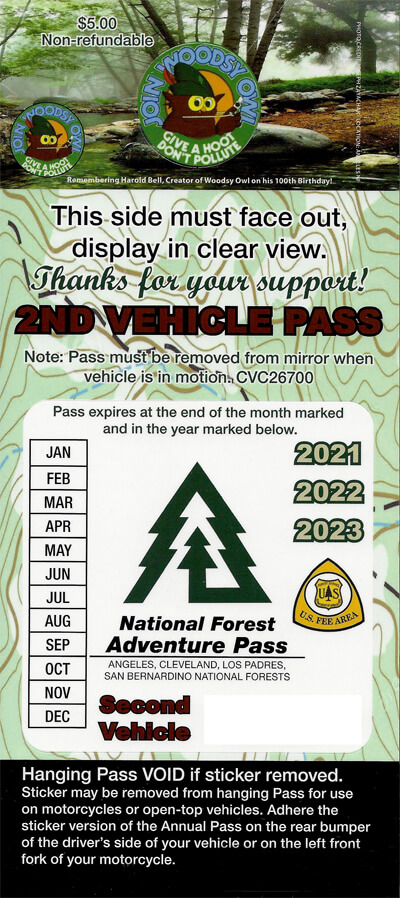 Southern California Second Car Annual Forest Adventure Pass