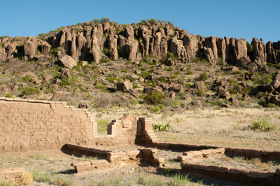 Davis Mountains and ruins at Fort Davis National Historic Site