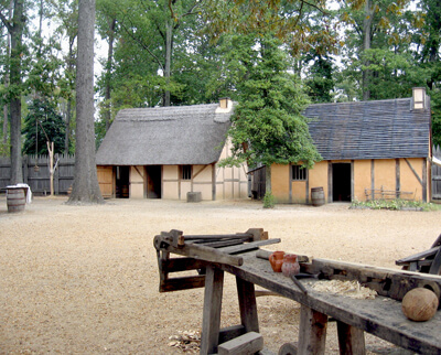 Re-created dwellings in the 1610-14 fort Jamestown Settlement.